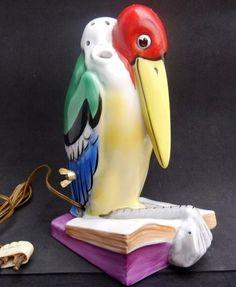 Antique Perfume Lamp Art Deco Germany Goebel Signed Hand Painted Figural Bird   eBay