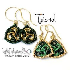 TUTORIAL Trefoil Triangle Earrings Beaded with Herringbone and Square Stitch