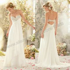 Sparkling Crystal Beading on Chiffon Floor Length Sweetheart Beach Wedding Dress 2014 Cheap $109.99