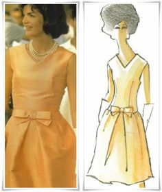 Jackie Kennedy wearing a peach silk sleeveless dress with a V-neck, shaped to the body with a fabric bow accenting the waist, worn on a trip to India, 1962 Design and illustration by Oleg Cassini Jacqueline Kennedy Onassis, Carolyn Bessette Kennedy, Estilo Jackie Kennedy, Os Kennedy, Caroline Kennedy, 1960s Fashion, Vintage Fashion, Source D'inspiration, Jackie Oh