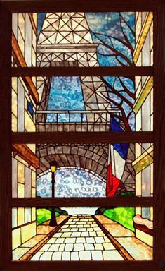 eiffel tower stained glass