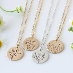Four new designs in our Wildflower Collection! Do you have a favorite? Dainty Jewelry, Cute Jewelry, Jewelry Box, Jewelry Accessories, Jewelry Necklaces, Kids Necklace, Gold Necklace, Thing 1, Necklace Lengths