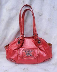 Kathy Van Zeeland Frosted Red Orange Satchel, Double Strap, KVZ Fuschia Orange #KathyVanZeeland #Satchel