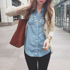 Cardigan and chambray. (And leather tote!)  Still not sure if I like this trend.  But becoming obsessed with trying to figure it out.