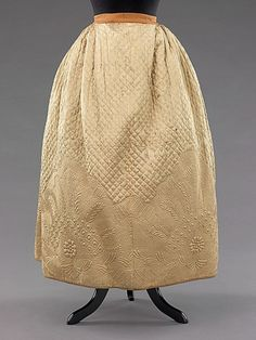 """""""Gorgeously quilted Petticoat  1795""""  ...and no one ever saw the beautiful stitches. S"""