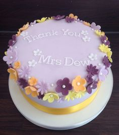 Colorful Flowers Birthday Cake With Name HBD Cake Pinterest