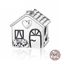 Sweet Home Love Heart House 925 Sterling Silver Charm Beads Fit Pandora European Charms Bracelet Y Bracelet Pandora Charms, Pandora Style Charms, Charm Bracelets, Diy Bracelet, Silver Bracelets, Argent Sterling, Sterling Silver, 925 Silver, Silver Ring