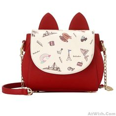 Wow~ Awesome Cute Cartoon Cat Ear Women Purse Chain Strap Shoulder Bag! It only $31.99 at www.AtWish.com! I like it so much<3<3!