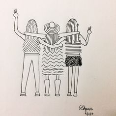 visualizing me along with my bffs in a random country travelling and living in the moment✌️ Doodle Art Drawing, Pencil Art Drawings, Art Drawings Sketches, Line Drawing, Easy Drawings, Mandala Art, Art Lessons, Illustration Art, Doodles