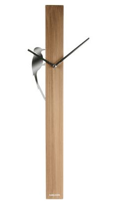 SILVER WOODPECKER WALL CLOCK