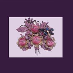 Let's Get Vintage - Additions New - STANLEY HAGLER Amazing pink/lavender one-of-a-kind dragonfly brooch. Signed STANLEY HAGLER N.Y.C. - Vintage Costume Jewelry