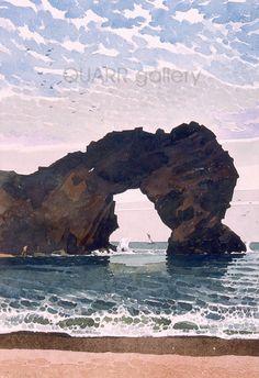 Durdle Door 2 by Ronald Jesty Watercolor Sea, Watercolor Sketch, Watercolor Artists, Watercolor Paintings, Watercolours, Harry Rocks, Pastel, David Hockney, Great Paintings