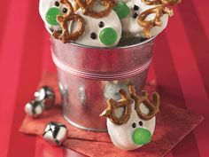 Easy Reindeer Cookies  http://www.bettycrocker.com/recipes/red-nosed-reindeer-cookies/1aa522fd-27c1-4fcd-a033-a9700d0138b4#?st=6&term=reindeer&ps=9&pi=9&fv=AND(HasGridViewImage:True)&ps=9&pi=9&fv=AND(HasGridViewImage%3ATrue)
