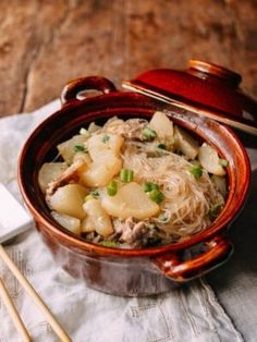 Braised Daikon with Salted Pork & Glass Noodles - The Woks of Life Pork Recipes, Asian Recipes, Ethnic Recipes, Chinese Recipes, Japanese Recipes, Entree Recipes, Chicken Recipes, Dim Sum, Wok Of Life