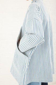 69 Pocket Bag Blazer Striped Denim in Medium Light Wash