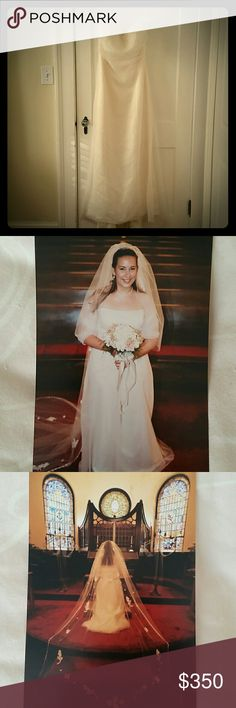 """Watters and Watters Wedding Gown Off-white tulle and satin, A-line wedding dress by Watters and Watters. Simple and elegant. Waist is 33"""". Optional tulle shrug to cover shoulders, included. Watters Dresses Wedding"""