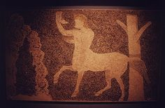 An ancient mosaic, depicting the mythological centaur in Pella. Macedonia