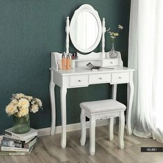 Altair Wall-fixed 5 Drawer Dressing Table Set with Mirror One Allium Way Furniture, Makeup Desk With Mirror, Desk Mirror, Wrought Iron Patio Chairs, Dressing Table Mirror, Dressing Table Set, Upholstered Seating, Fancy Bedroom, Hazelwood Home