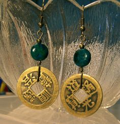 Chinese coin and green bead dangle by CrystalinasCreations on Etsy, $13.99