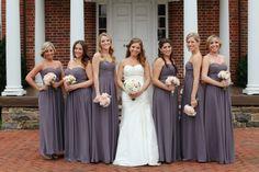 Virginia Wedding Ceremony Pewter Bridesmaid Dresses 3 550x366 Sophisticated Country Club Wedding Ceremony in Virginia: Tracy + John