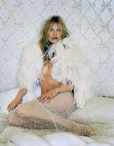 Kate Moss for John Galliano #whitefur Kate is so classic. Love her! #blanc #blanccomm @blanccomm