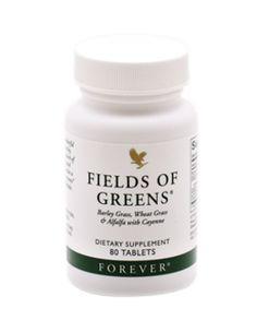 Grønnere end det her bliver det ikke. I Forever Fields of Greens finder du nemlig både byggræs, lucerne og hvedegræs i kombination med honning og cayennepeber.  I en stresset hverdag er en næringsmæssig perfekt kost ikke altid en selvfølge. Forever Fields of Greens er et kosttilskud til dig, som vil supplere din daglige kost.  Anbefalet daglig dosis:  1 tablet 2 gange dagligt  Byggræs, lucerne, hvedegræs, honning og cayennepeber Med et naturligt indhold av klorofyl