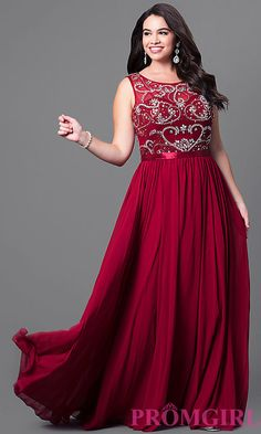 Image of long sleeveless plus-size prom dress with jewels. Style: DQ-8736P Front Image