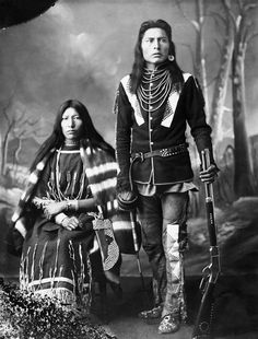 "oogishkamaanisee: "" sisterwolf: "" First Nations Man and His Wife, 1886. "" omg look at her face she knows whats up """