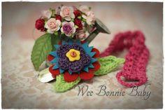 Dummy Chain - Fleur Rouge-Bleu-Vert Crochet Accessories, Beanie Hats, Boy Or Girl, Colours, Texture, Chain, Red, Surface Finish, Chain Drive