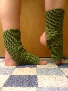 Yoga Socks in Olive Green Acrylic by CarrotCreations on Etsy, $10.00