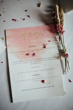 Watercolour Stationery Menu Pink Gold Soft Springtime Countryside Wedding http://www.claudiarosecarter.co.uk/