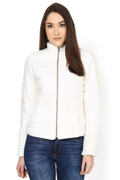 Off White Plain Jacket - Jackets - Western - Lakshita Winter Shorts, White Plains, Quilted Jacket, Off White, Winter Jackets, Turtle Neck, Sporty, Chic, Sweaters