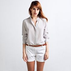 Working on building an entire professional wardrobe around their silk blouses and poplin shirts. Everlane, silk blouse in light grey, $80.