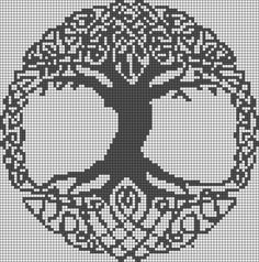 tree of life Alpha Pattern Alpha friendship bracelet pattern added by puppydog. Really want excellent tips and hints regarding arts and crafts? Beginning Cross Stitch Embroidery Tips - Embroidery Patterns If you absolutely love arts and crafts you actuall Celtic Cross Stitch, Cross Stitch Tree, Cross Stitch Charts, Cross Stitch Designs, Cross Stitch Patterns, Alpha Patterns, Loom Patterns, Crochet Patterns, Perler Patterns