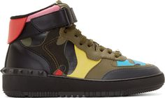 Valentino: Green Multicolor Camo High-Top Sneakers | SSENSE