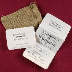 Occasions to Blog: Burlap Wedding Invitations (Invitation Link - http://occasionsinprint.carlsoncraft.com/1080-WRN8882-Typography-Inspiration--Invitation.pro)