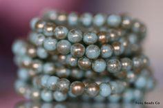 Light Mint with Silverish Finish Czech Glass 6mm Round Druk Bead - CZDRU012 by FoxyBeadsCo on Etsy