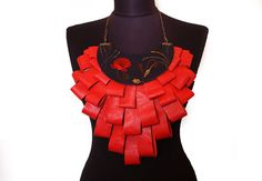 Statement Genuine Leather Red Corai Neckalce by EtnoWareStore, $45.00