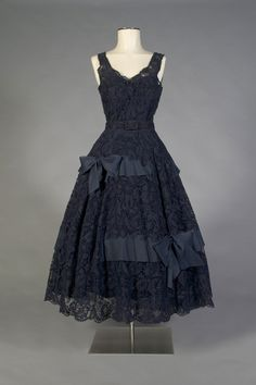 fripperiesandfobs: Evening dress ca. 1954-55 From the Kent...