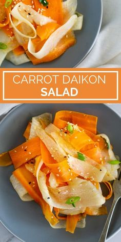 Need a light and tasty salad recipe for a salad side dish? Try this shaved salad made with carrots and daikon radish, in a light and flavorful sesame ginger dressing. This Carrot Daikon Salad has a nice crunch, a great flavor, and it's light and gluten-free. If you're looking for daikon recipes, carrot recipes, salad ideas, side salads, give this daikon radish salad a try! Radish Recipes, Best Salad Recipes, Carrot Recipes, Veggie Recipes, Healthy Recipes, Carrot Salad, Radish Salad, Sesame Ginger Dressing, Carrot Ginger Dressing