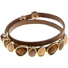 John Lewis Teardrop Stone Wrap Bracelet , Tan ($19) found on Polyvore