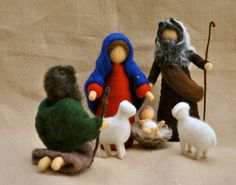 Christmas Scene Waldorf inspired needle felted dolls: by MagicWool Christmas Nativity Scene, Christmas Scenes, Felt Christmas, Christmas Crafts, Wet Felting, Needle Felting, Felt Fairy, Felt Mouse, Felt Decorations