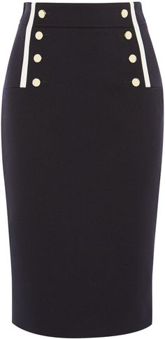 Button Detail Pencil Skirt - Navy