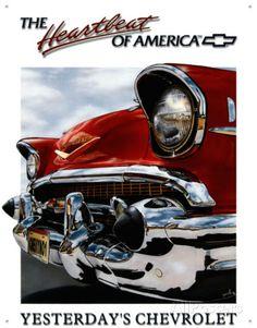 Chevy Heartbeat Placa de lata