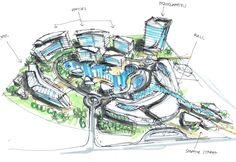 mixed use development concept-randy carizo Parametric Architecture, Futuristic Architecture, Concept Architecture, Architecture Design, Landscape Architecture, Urban Design Concept, Urban Design Diagram, Mix Use Building, Mixed Use Development