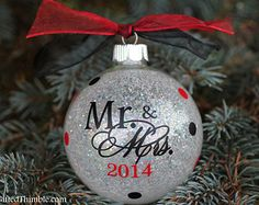 Our First Christmas Ornament / Married Date Ornament / Wedding Ornament / Christmas Ornament