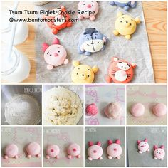 Cookies tutorial and Tsum Tsum cookie recipe and others. Pooh and Friends Beaux Desserts, Cute Desserts, Asian Desserts, Kawaii Cookies, Cute Cookies, Dessert Kawaii, Cartoon Cookie, German Cookies, Cute Buns