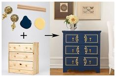 Inky navy-blue paint sets the stage for multi-hued Victorian details, including faux panel trim in buttery yellow and stenciled floral designs that bring the focus front and center. Upcycled Furniture, Painted Furniture, Diy Furniture, Folk Victorian, Victorian Fashion, Ikea Rast Dresser, Victorian Dressers, Campaign Dresser, Faux Panels
