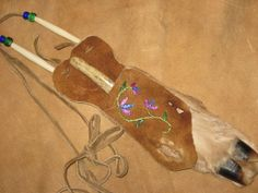 Deer Leg Knife Sheath with floral quillwork and antler handle knife. Bonita Bent Nelson