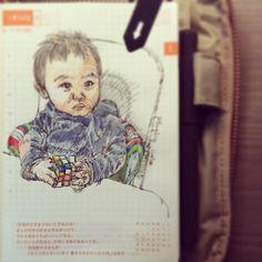 Jan 14th,2014. playing #Cube #SteveJournal2014 #BabyJournal #ほぼ日手帳 #Hobonichi #手帳 #FountainPen